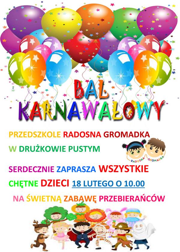 Zaproszenie na bal karnawałowy w przedszkolu Radosna Gromadka
